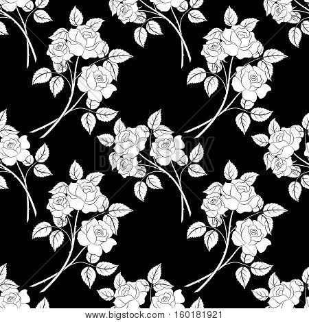 Seamless Floral Background, White Contour Flowers Roses Isolated on Black Background. Vector