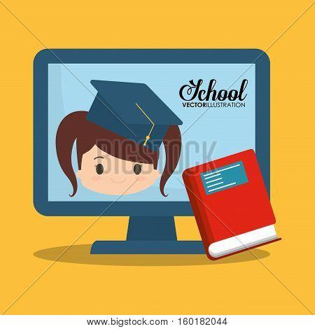 cartoon girl red book computer school vector illustration eps 10