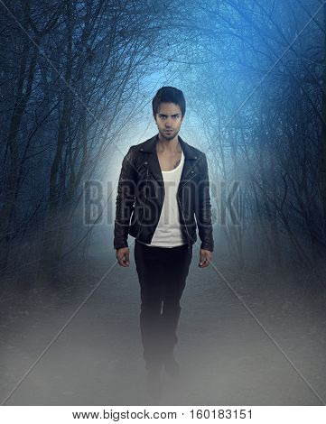 Cover of a fantastic novel. Handsome vampire walking in the woods