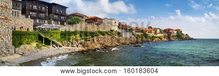 SOZOPOL BULGARIA SEPTEMBER 03 2014: Seaside resort and old town Sozopol in Bulgaria. Old town Sozopol was founded in the 7th century BC on the Black sea coast Bulgaria. Panoramic shot.