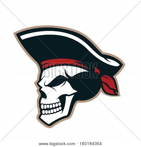 Clipart picture of a pirate skull cartoon mascot logo character