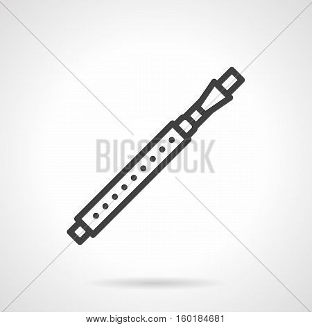 Variation of flute - fife. Brass and woodwind musical instruments. Symphony orchestra, performance of classical and modern music. Black simple line style design vector icon.