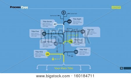 Process chart slide template. Business data. Graph, diagram, design. Creative concept for infographic, templates, presentation, marketing. Can be used for topics like management, planning, teamwork.