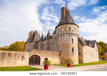 Fougeres-sur-Bievre France - 6 November 2016: Facade of Chateau de Fougeres-sur-Bievre medieval french castle in Loire Valley. It was built in 15 century