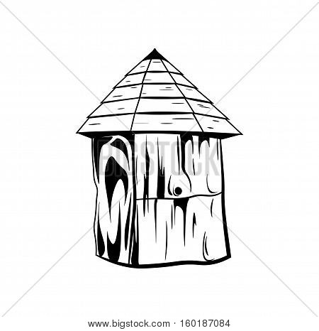Bee house hive. Honey vector illustration isolated on white background