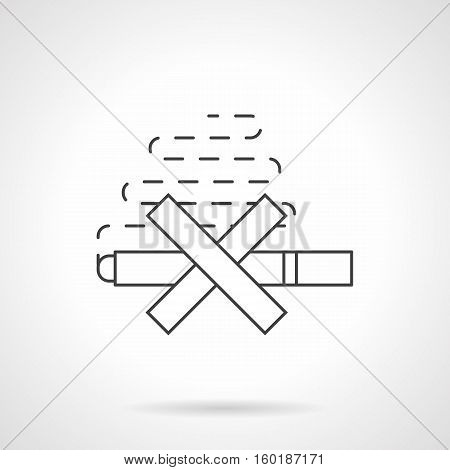 Stop smoking concept. Symbol of crossed cigarette with smoke. Harm of nicotine for human health, unhealthy lifestyle. Flat black line vector icon.