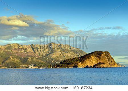 Budva bay, Montenegro, Europe. Sunset light