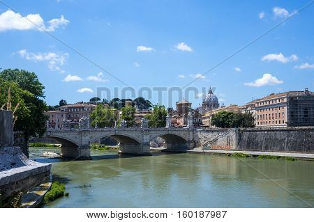 Rome, Italy. Bridge to Castel Sant'Angelo viewed from the other side of the river.