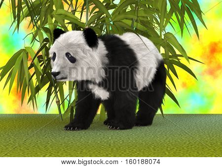 3D rendering of a panda bear in a fantasy garden