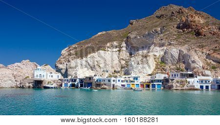 Panoramic view of Fyropotamos village, Milos island, Cyclades, Greece.