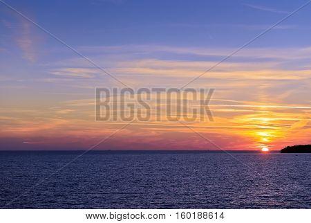 Beautiful sunset near Sveti Stefan, Montenergo, Adriatic sea