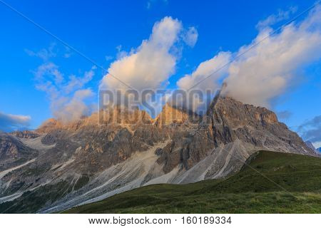 View on mountain peaks, Italian Alps, Dolomites, South Tyrol, Italy