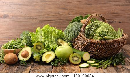 assorted green vegetable and fruit