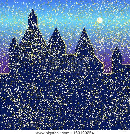 Snowfall in the night city. Vector illustration background for design greeting card, party, celebration, invitation. Silhouette palaces.
