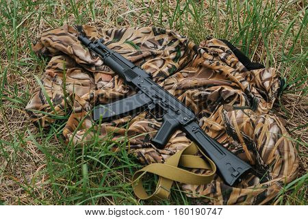weapons lying on the ground. military. automatic
