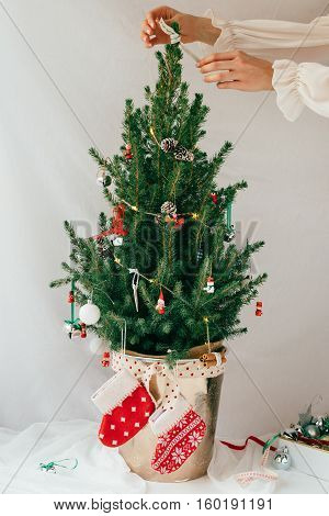 Decorating Miniature Real Christmas Tree with Vintage Decorations