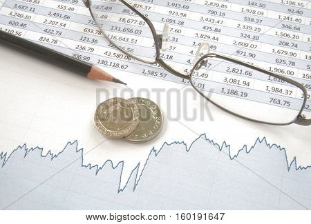 Silver coins with pencil and glasses on top of line chart with spreadsheet