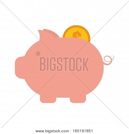 piggy money coin dollar golden vector illustration eps 10