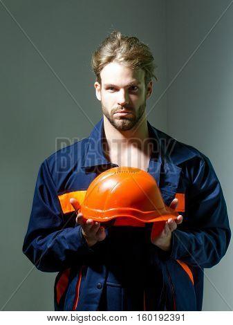 Handsome Man Keeps Hard Hat