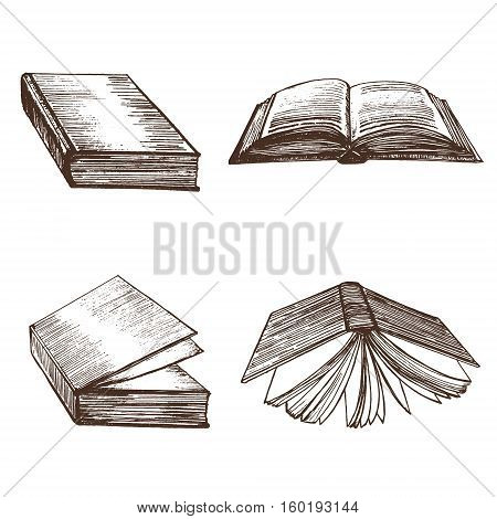 Book Set Open and Closed View Hand Draw Sketch Vintage Hardcover for Education. Vector illustration
