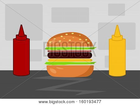 Hamburger Cartoon Vector Illustration colored image design