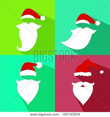 Flat Design Vector Santa Claus Face illustration