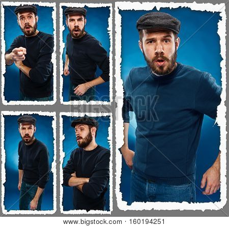 The portrait of a young man in a cap currently experiencing feelings of grief and horror on a blue background. Collage