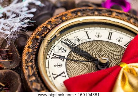 2017 new year old clock as background