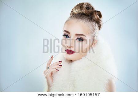 Beautiful Woman Fashion Model with Maroon Lips