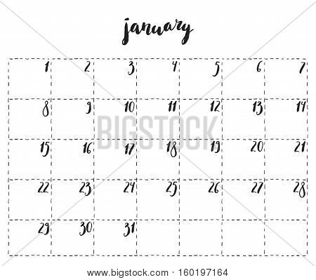 Hand drawn ink monthly planner page template. Vector organizer page for any month.