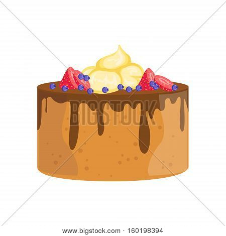 Sponge Cake With Chocolate And Berries Decorated Big Special Occasion Party Dessert For Wedding Or Birthday Celebration. Festive Sweet Pastry Centerpiece Element Design Flat Vector Illustration.