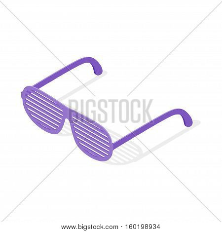 Isometric 3d vector illustration of shutters shades glasses. Isolated on white background.