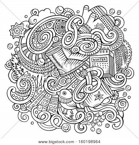 Cartoon cute doodles hand drawn Winter season illustration. Line art detailed, with lots of objects background. Funny vector artwork