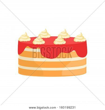 Layered Cake With Strawberry Syrup Decorated Big Special Occasion Party Dessert For Wedding Or Birthday Celebration. Festive Sweet Pastry Centerpiece Element Design Flat Vector Illustration.