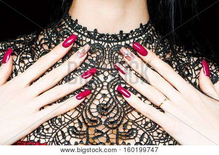 Female Hands With Fingernail Manicure