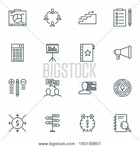 Set Of 16 Project Management Icons. Can Be Used For Web, Mobile, UI And Infographic Design. Includes Elements Such As Team, Money, Right And More.