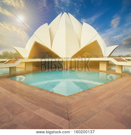 The Lotus Temple, Located In New Delhi, India.
