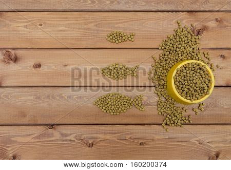 Cat food in bowl and on wood background looks like a fish