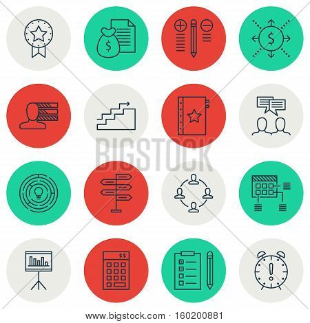 Set Of 16 Project Management Icons. Can Be Used For Web, Mobile, UI And Infographic Design. Includes Elements Such As Skills, Presentation, Report And More.