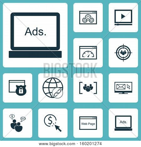 Set Of 12 Advertising Icons. Can Be Used For Web, Mobile, UI And Infographic Design. Includes Elements Such As Speed, Page, Optimization And More.