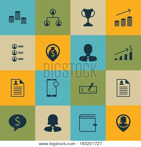 Set Of 16 Management Icons. Can Be Used For Web, Mobile, UI And Infographic Design. Includes Elements Such As Tree, Cup, Application And More.