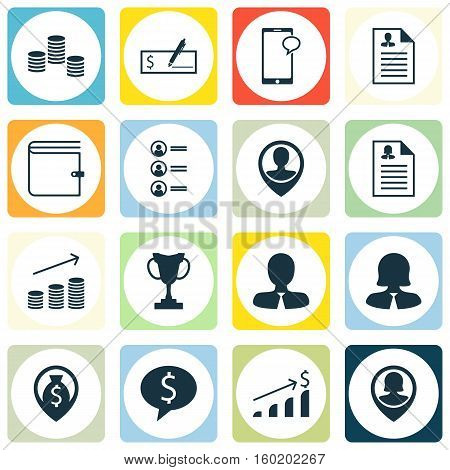 Set Of 16 Human Resources Icons. Can Be Used For Web, Mobile, UI And Infographic Design. Includes Elements Such As User, Discussion, Cup And More.