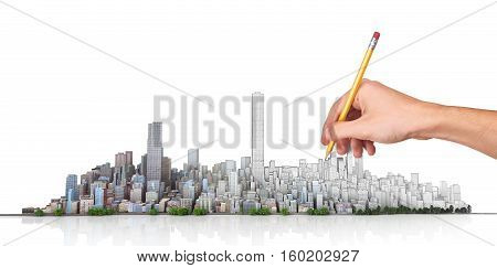 Urban skyline. Hand with pencil in process of drawing city horizon on a white background. Сity planning. 3d illustration