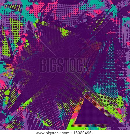 Paint stroke copy space. abstract urban pattern. Grunge texture background. Scuffed drop sprays, neon dots, paint, splash. Urban modern dirty dark wallpaper. Fashion textile, sport fabric. torn style.