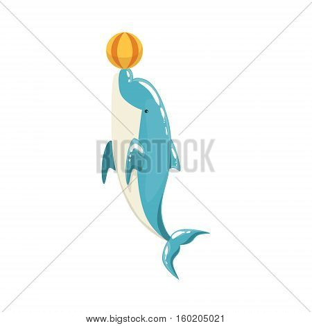 Blue Bottlenose Dolphin Balancing A Ball For Entertainment Show, Realistic Aquatic Mammal Vector Drawing. Friendly Cute Marine Animal In Aquarium Zoo Cartoon Illustration.
