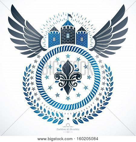 Heraldic sign created with vector vintage elements like medieval tower and eagle wings