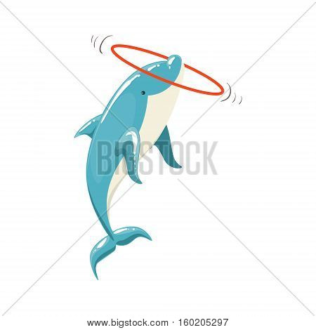 Blue Bottlenose Dolphin Holding Hula-Hoop For Entertainment Show, Realistic Aquatic Mammal Vector Drawing. Friendly Cute Marine Animal In Aquarium Zoo Cartoon Illustration.
