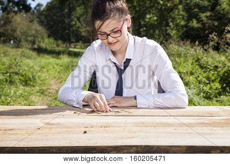 Joyful Business Woman Counts Money For Lunch