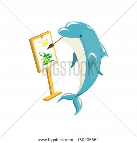 Blue Bottlenose Dolphin Painting On Canvas For Entertainment Show, Realistic Aquatic Mammal Vector Drawing. Friendly Cute Marine Animal In Aquarium Zoo Cartoon Illustration.