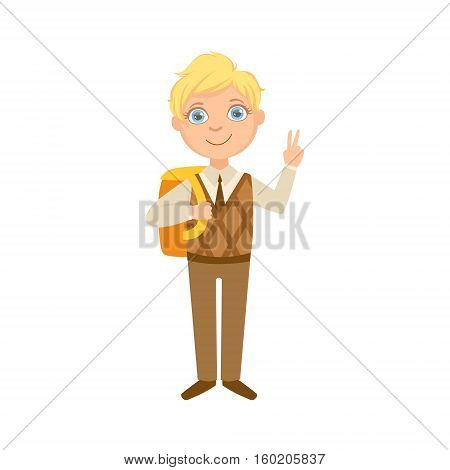 Boy In Brown Vest And Trousers With Backpack Happy Schoolkid In School Uniform Standing And Smiling Cartoon Character. Part Of Primary School Students In Dress Code Clothing Set Of Vector Illustrations.